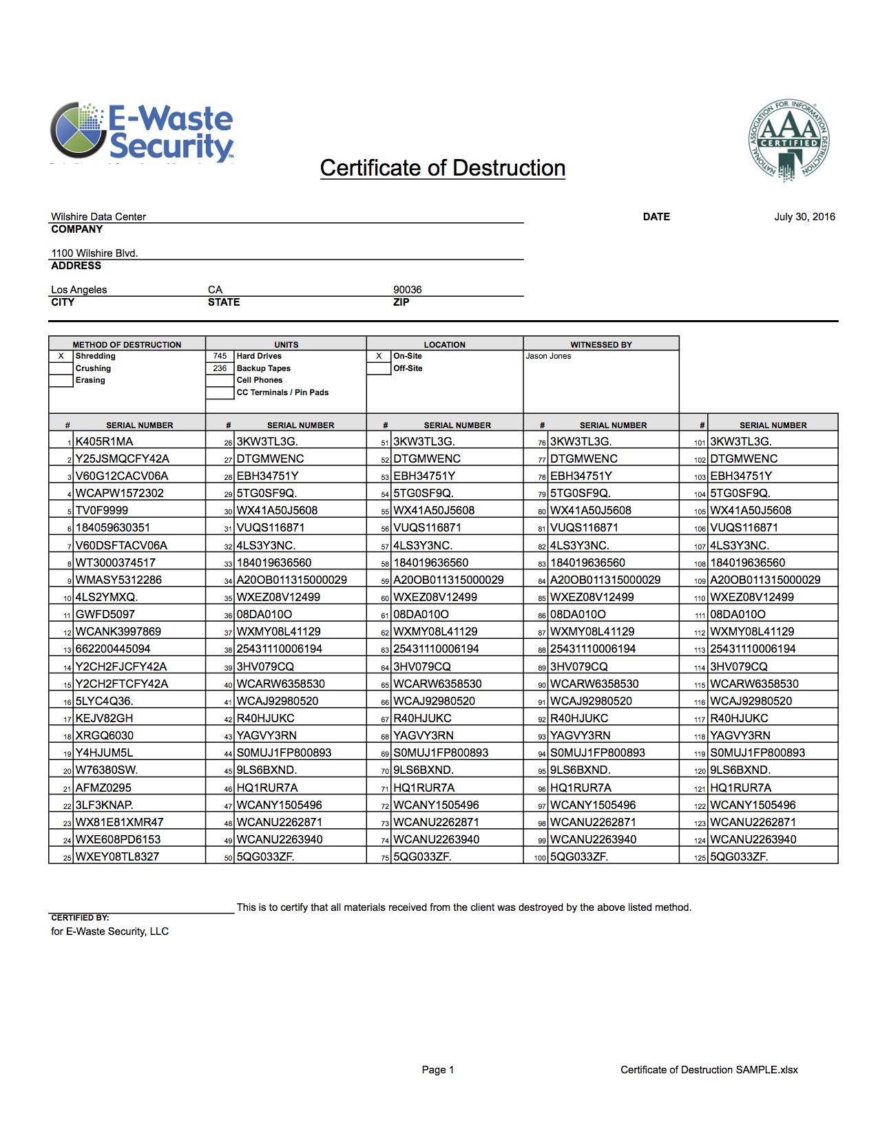 Certificate Of Destruction - Hard Drive Destruction - E Throughout Hard Drive Destruction Certificate Template