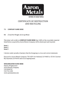Certificate Of Destruction Template – Fill Online, Printable with regard to Free Certificate Of Destruction Template
