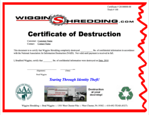 Certificate Of Destuction From Wiggins Shredding In West for Hard Drive Destruction Certificate Template