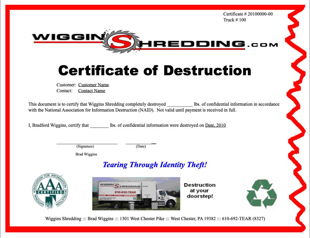 Certificate Of Destuction From Wiggins Shredding In West Inside Certificate Of Destruction Template
