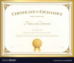 Certificate Of Excellence Template Gold Theme pertaining to Free Certificate Of Excellence Template