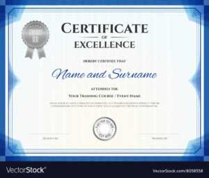 Certificate Of Excellence Template In Blue Theme pertaining to Free Certificate Of Excellence Template