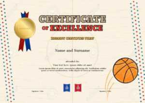 Certificate Of Excellence Template In Sport Theme For Basketball.. within Basketball Certificate Template
