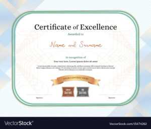 Certificate Of Excellence Template With Award pertaining to Award Of Excellence Certificate Template