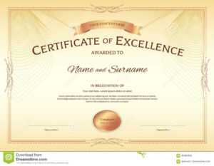 Certificate Of Excellence Template With Award Ribbon On within Award Of Excellence Certificate Template