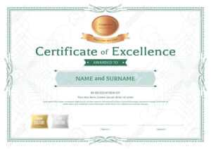 Certificate Of Excellence Template With Bronze Award Ribbon On Abstract  Guilloche Background With Vintage Border Style with regard to Award Of Excellence Certificate Template