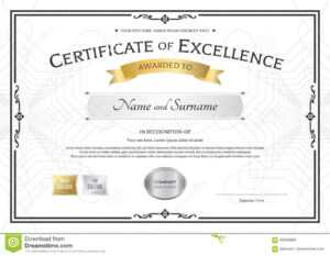 Certificate Of Excellence Template With Gold Award Ribbon On inside Award Of Excellence Certificate Template