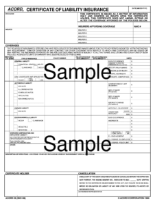 Certificate Of Insurance Template – Fill Online, Printable for Certificate Of Insurance Template