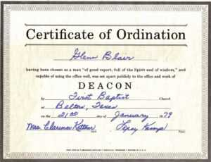 Certificate Of Ordination For Deaconess Example for Ordination Certificate Templates