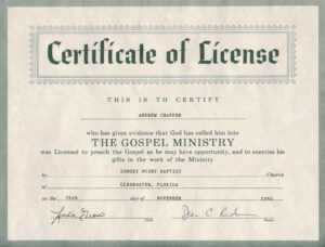 Certificate Of Ordination For Pastor Template regarding Certificate Of License Template