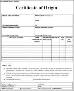 Certificate Of Origin | Trade Samaritan intended for Certificate Of Manufacture Template