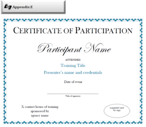 Certificate Of Participation Sample Free Download in Certificate Of Participation Template Pdf