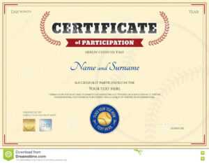 Certificate Of Participation Template In Baseball Sport intended for Sports Day Certificate Templates Free