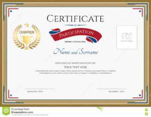 Certificate Of Participation Template In Sport Theme Stock for Certification Of Participation Free Template