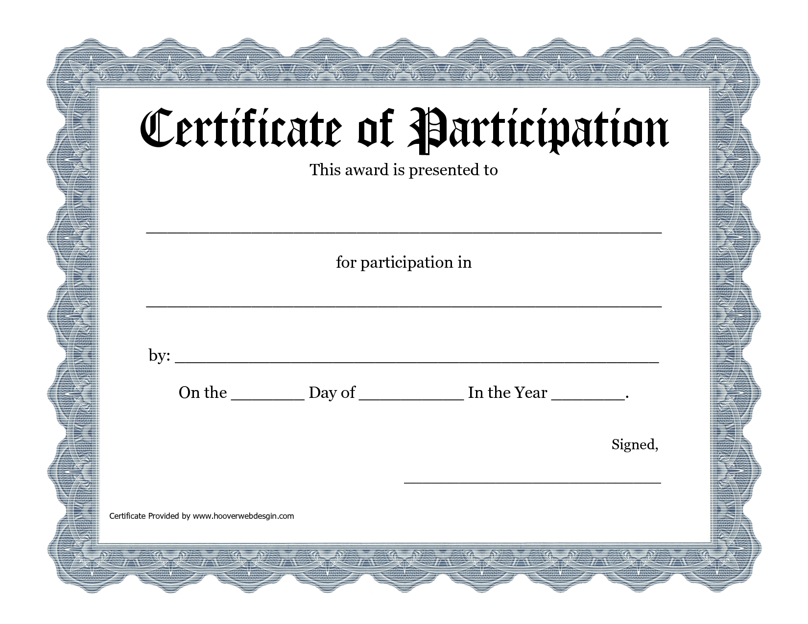 Certificate Of Participation Template Pdf Pertaining To Certificate Of Participation Template Pdf