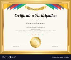 Certificate Of Participation Template With Gold with Certificate Of Participation Template Pdf