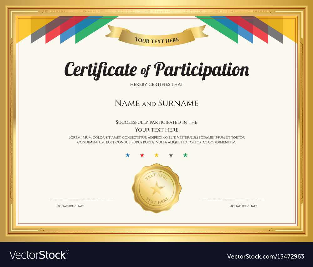 Certificate Of Participation Template With Gold With Regard To Free Templates For Certificates Of Participation