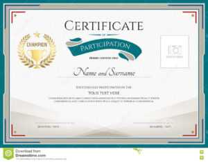 Certificate Of Participation Template With Green Broder in Certificate Of Participation Word Template