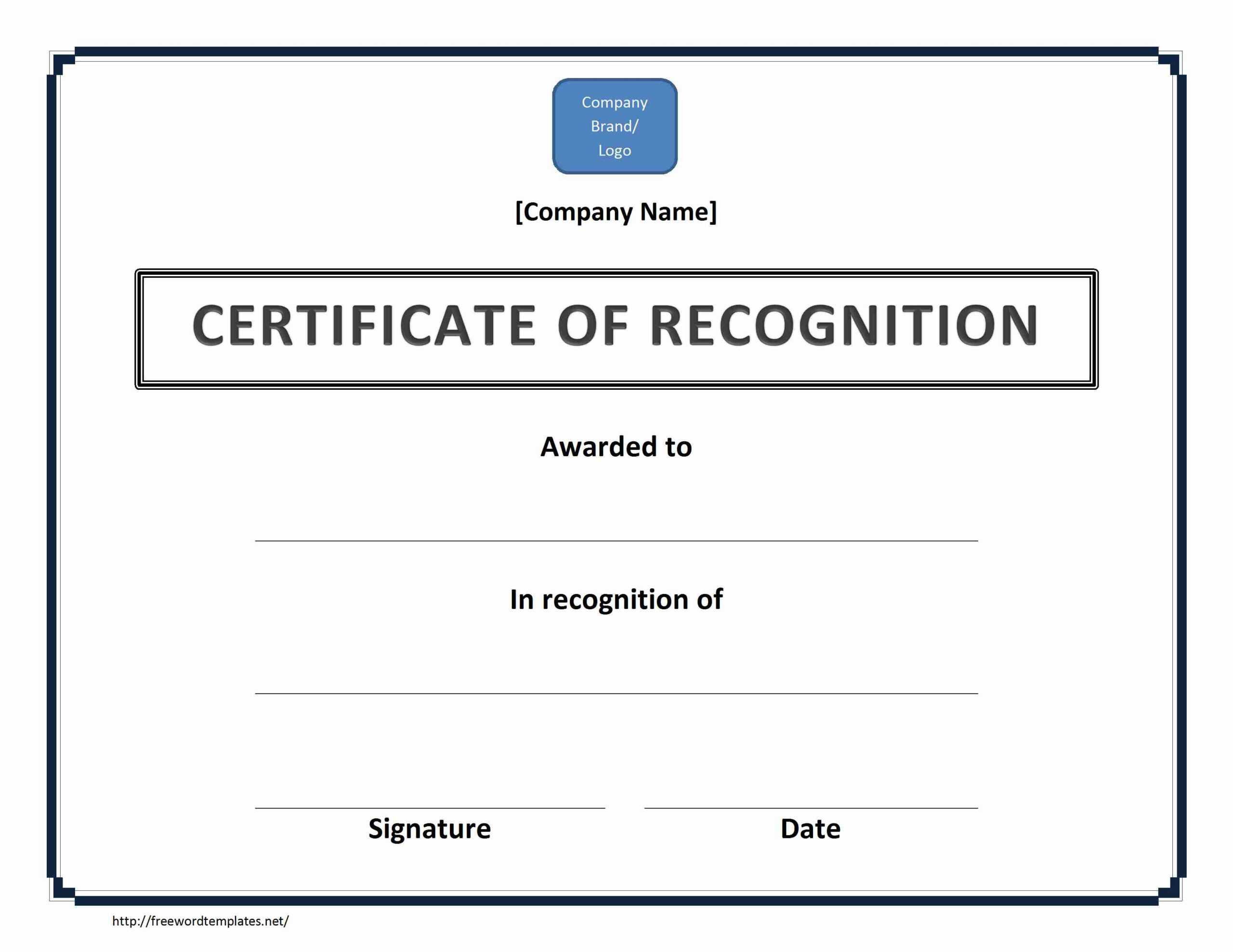 Certificate Of Recognition Doc File Pertaining To Recognition Of Service Certificate Template
