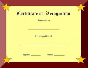 Certificate Of Recognition Template – Certificate Templates regarding Best Employee Award Certificate Templates