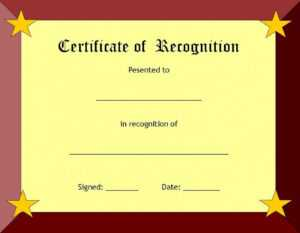 Certificate Of Recognition Template – Certificate Templates within Employee Recognition Certificates Templates Free