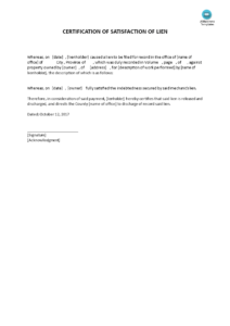 Certificate Of Satisfaction Of Lien | Templates At throughout Certificate Of Payment Template