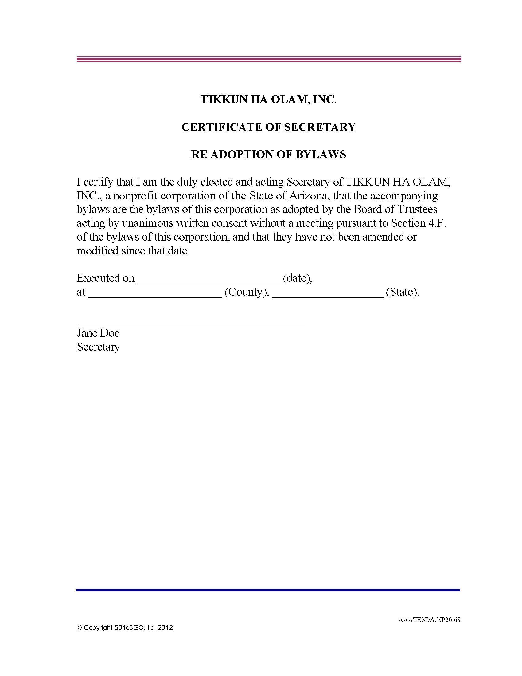 Certificate Of Secretary Re Adoption Of Bylaws | 501C3Go Intended For Corporate Secretary Certificate Template