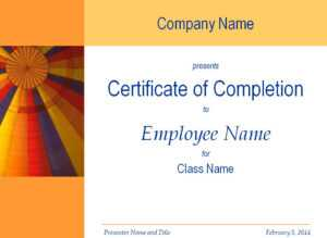 Certificate Of Training Completion Template inside Free Training Completion Certificate Templates