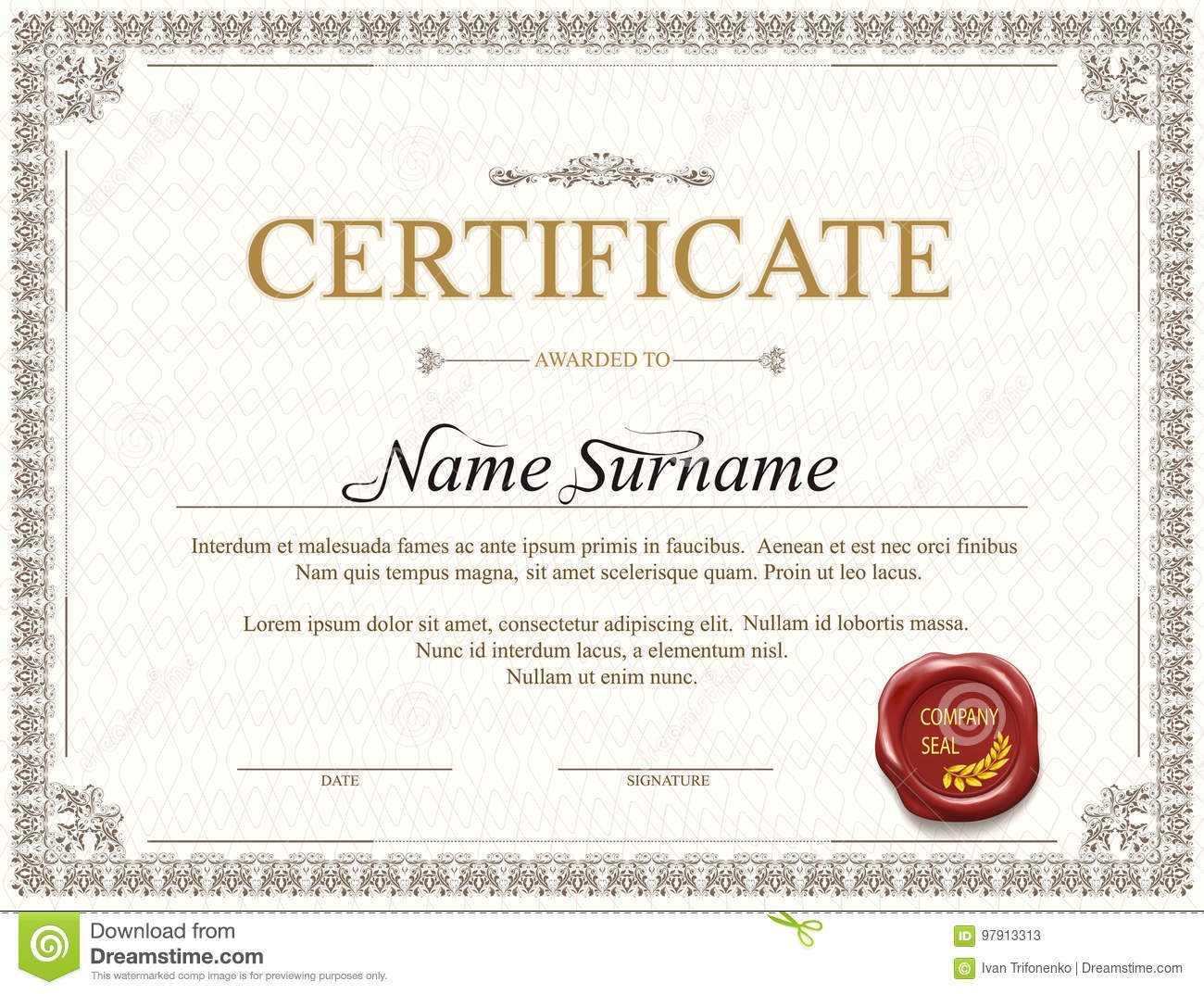 Certificate Template Design Stock Vector - Illustration Of In Mock Certificate Template