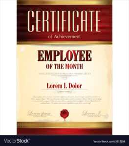 Certificate Template Employee Of The Month for Employee Of The Month Certificate Template