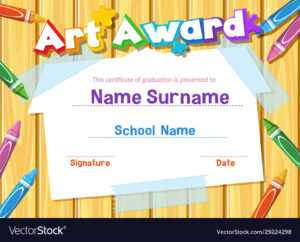 Certificate Template For Art Award With Crayons pertaining to Free Art Certificate Templates