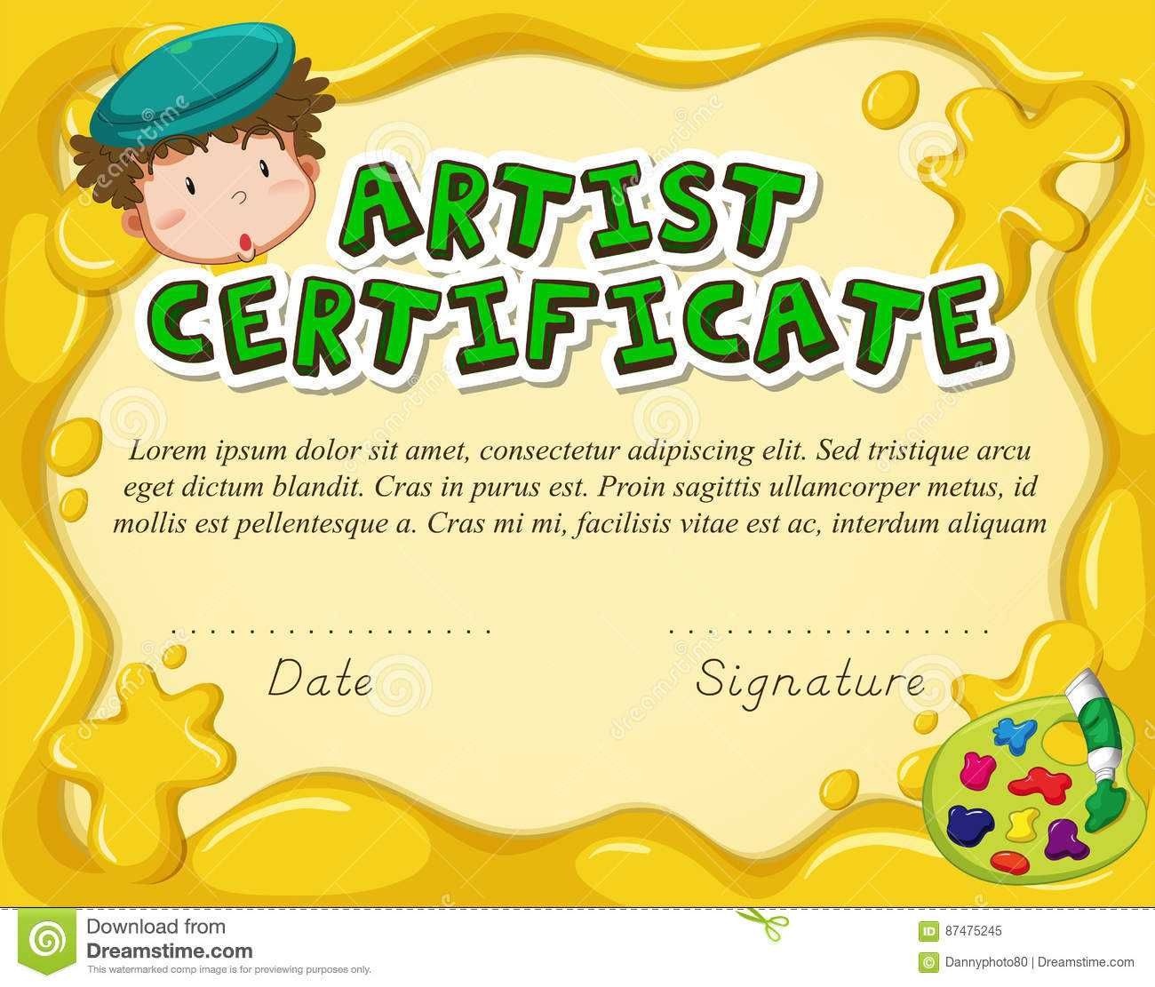 Certificate Template For Artist Stock Vector - Illustration Within Art Certificate Template Free