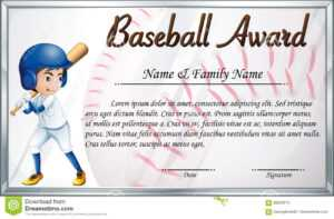 Certificate Template For Baseball Award With Baseball Player inside Free Softball Certificate Templates
