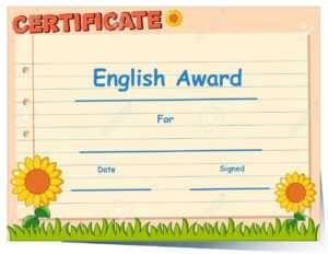 Certificate Template For English Award Illustration inside Free Printable Blank Award Certificate Templates