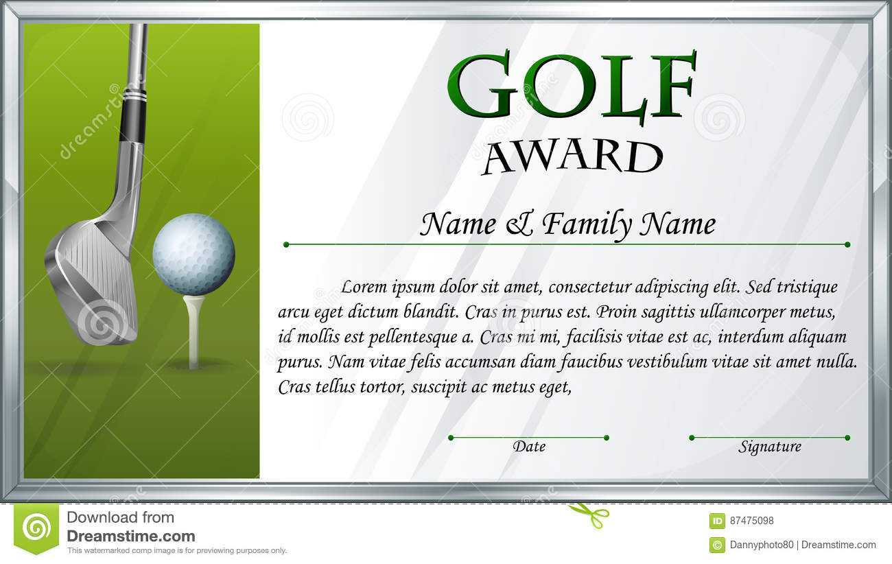 Certificate Template For Golf Award Stock Vector Pertaining To Golf Certificate Template Free