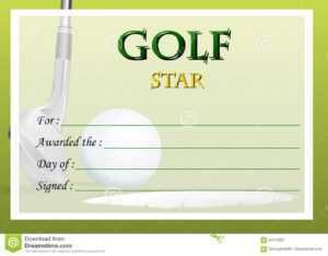 Certificate Template For Golf Star Stock Vector pertaining to Golf Gift Certificate Template