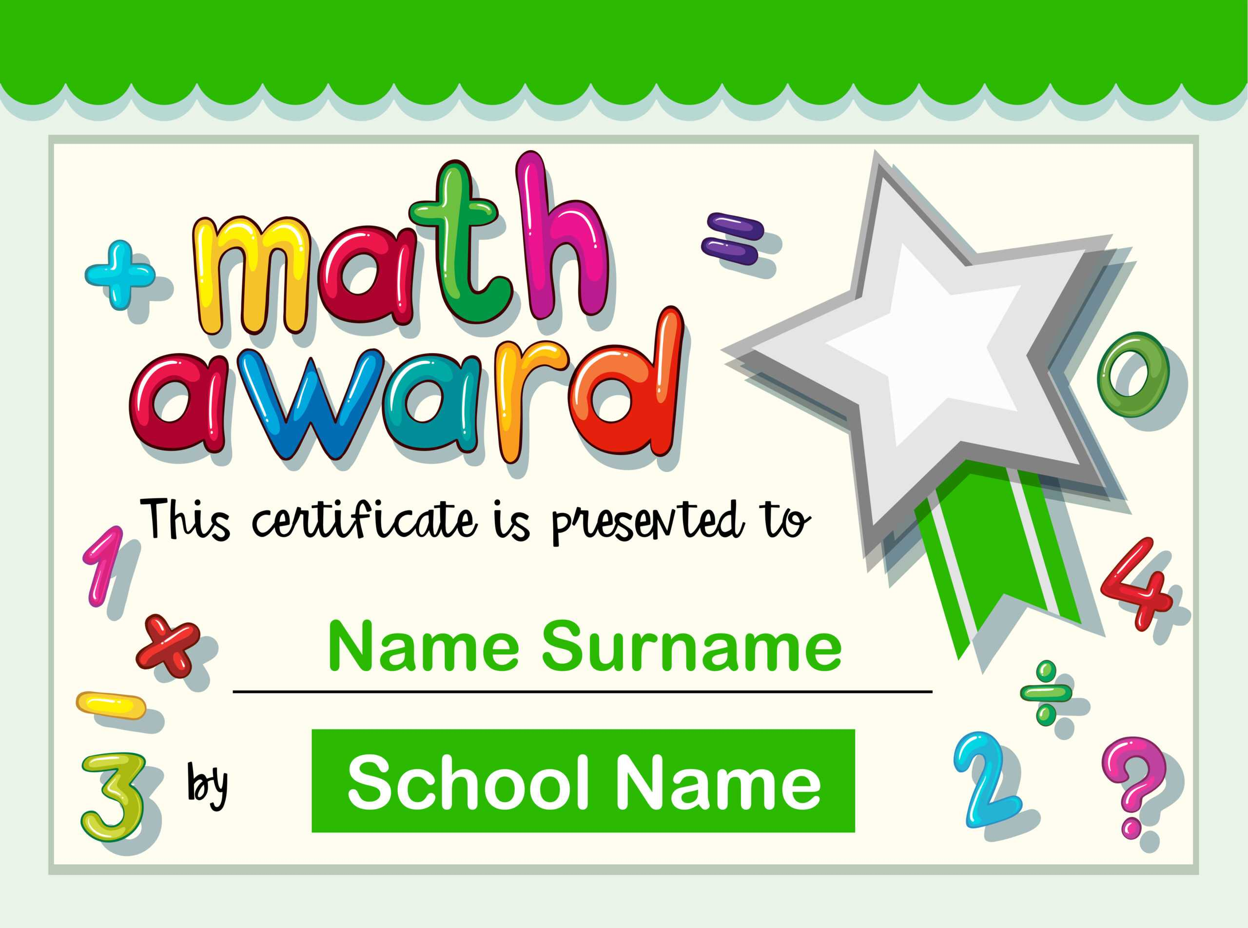 Certificate Template For Math Award - Download Free Vectors Throughout Math Certificate Template