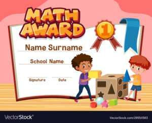 Certificate Template For Math Award With Boys regarding Math Certificate Template