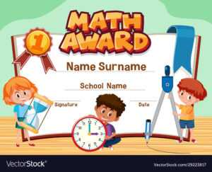 Certificate Template For Math Award With Children with regard to Math Certificate Template