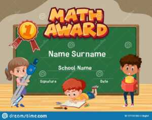 Certificate Template For Math Award With Kids In Classroom with Math Certificate Template