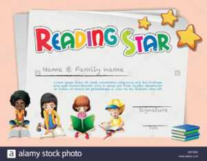 Certificate Template For Reading Star Illustration Stock in Star Naming Certificate Template