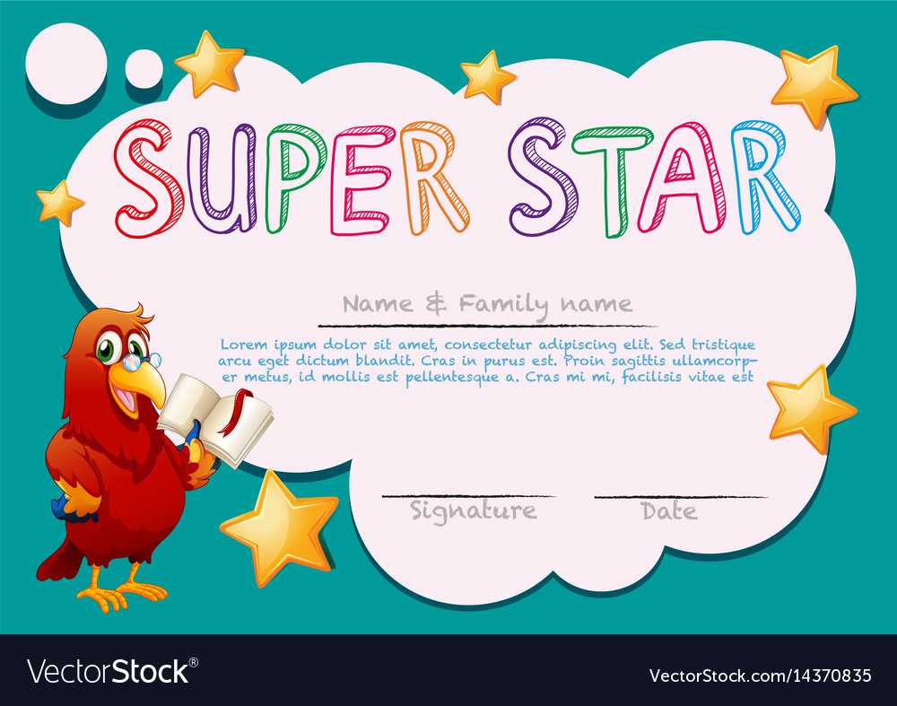 Certificate Template For Super Star Intended For Star Of The Week Certificate Template