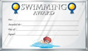 Certificate Template For Swimming Award Illustration for Swimming Award Certificate Template