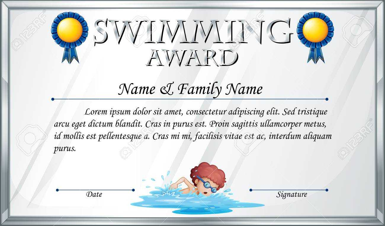 Certificate Template For Swimming Award Illustration Inside Swimming Award Certificate Template