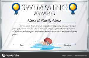 Certificate Template For Swimming Award — Stock Vector inside Swimming Award Certificate Template