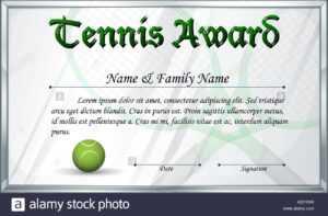 Certificate Template For Tennis Award Illustration Stock for Tennis Gift Certificate Template