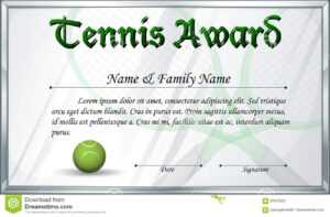 Certificate Template For Tennis Award Stock Vector throughout Tennis Certificate Template Free