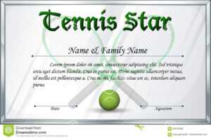 Certificate Template For Tennis Star Stock Vector regarding Softball Certificate Templates Free