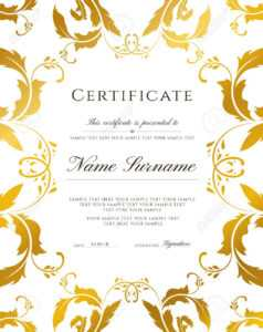 Certificate Template, Gold Border. Editable Design For Diploma,.. throughout Award Certificate Border Template
