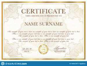 Certificate Template. Gold Border With Guilloche Pattern inside Certificate Of Authenticity Template